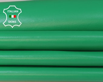 BRIGHT GREEN soft Italian Lambskin Lamb Sheep leather material for sewing fabric 3 skins hides total 15sqf 0.7mm #A5975
