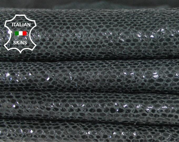 GREY SNAKE shiny print vintage look soft rough Italian Lambskin Lamb leather skin hide skins hides 8sqf 0.8mm #A6480
