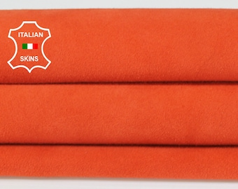 ORANGE SUEDE Italian Goatskin Goat leather material for sewing crafts skin hide skins hides 4sqf 1.0mm #A6711