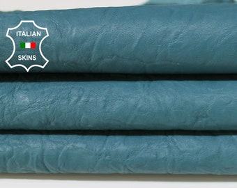 WASHED TEAL BLUE wrinkled vegetable tan Italian genuine Lambskin Lamb Sheep wholesale leather skins high quality 0.5mm to 1.2mm