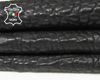BLACK thick Grainy Bubbles bubbly vegetable tanned Italian Lambskin Lamb sheep leather skin hide skins hides 6sqf 1.7mm #A5599