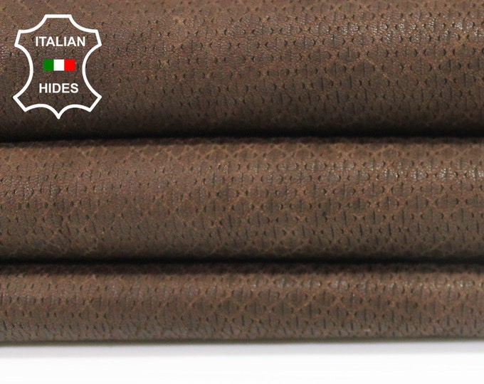 BROWN WASHED ANTIQUED rustic textured vegetable tan Italian genuine Lambskin Lamb Sheep leather 2 skins hides total 11sqf 1.1mm #A4124