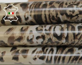 LEOPARD KHAKI & TAUPE print textured on khaki Italian Lambskin Lamb Sheep leather skin hide skins hides 7sqf 0.7mm #A6861