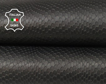NATURAL BLACK REPTILE embossed strong textured Italian Goatskin Goat leather material for crafts 2 skins hides total  14sqf 1.0mm #A6984