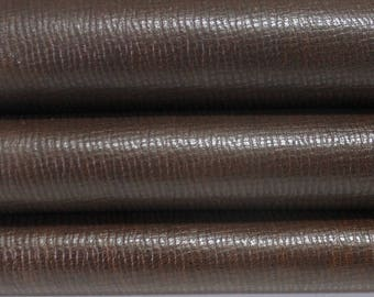 BROWN ANTIQUED EMBOSSED pattern genuine Italian Goatskin Goat leather skin hide skins hides 5sqf 1.0mm #A3565