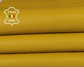WASHED MUSTARD YELLOW vegetable tan Italian Goatskin Goat leather bookbinding skins hides skin hide 6sqf 1.0mm #A6505