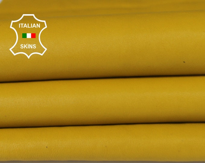 WASHED MUSTARD YELLOW vegetable tan Italian genuine Goatskin Goat wholesale leather skins material for sewing high quality 0.5mm to 1.2mm