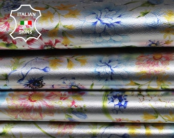 COLORFUL FLOWERS on Metallic Silver Italian Lambskin Lamb Sheep leather skin skins hide hides 9-11sqf 0.8mm #A6840