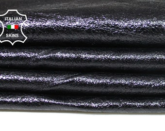 PATENT CRINKLE BLACK shiny thin soft Italian Lambskin Lamb sheep leather skin hide skins hides 7sqf 0.3mm #A5550