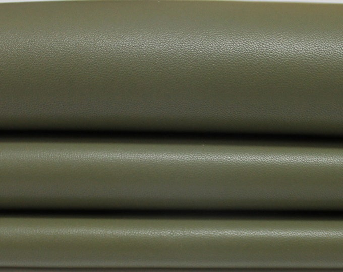 ARMY OLIVE GREEN Italian genuine Lambskin Lamb Sheep leather skins hides 0.5mm to 1.5mm