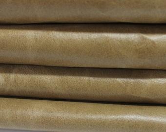 VINTAGE KHAKI BEIGE  Calf Calfskin Italian genuine leather skin skins hide hides 2 tones 17sqf #A2865