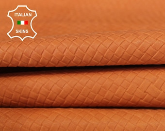 WOVEN APRICOT ORANGE Naked Natural textured embossed vegetable tan Italian Goatskin Goat Leather skin skins hide hides 5sqf 0.8mm #A6643