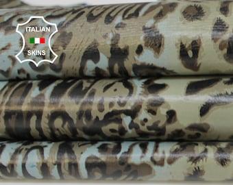 LEOPARD KHAKI & BLUE sky print textured on light blue Italian Lambskin Lamb Sheep leather skin hide skins hides 8sqf 0.7mm #A6856