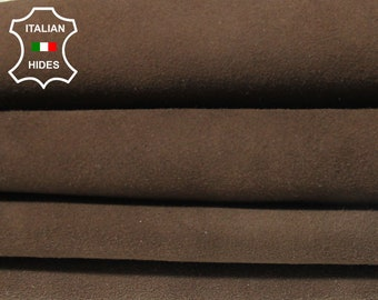 BROWN SUEDE Italian Goatskin Goat Leather skin hide 2 skins hides total 10sqf 1.0mm #A4941