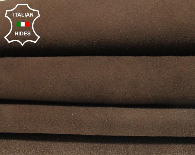BROWN SUEDE Italian Goatskin Goat Leather skin hide 2 skins hides total 10sqf 1.0mm #A4941