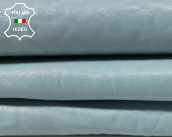 NATURAL BLUE GRAINY baby blue bubbles thick vegetable tan Italian Lambskin leather material for sewing 2 skins total 12sqf 1.3mm #A4819