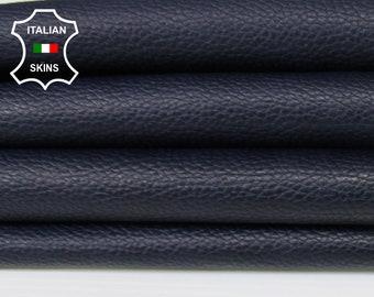 DARK BLUE ANTIQUED Pebble grain grainy soft Italian Calfskin Calf leather skin skins hide hides 5-7sqf 0.8mm #A6284