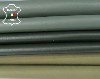 GREEN 3 SHADES pack soft Italian Lambskin Lamb Sheep leather pack 3 skins hides total 16sqf 0.6mm #A6115