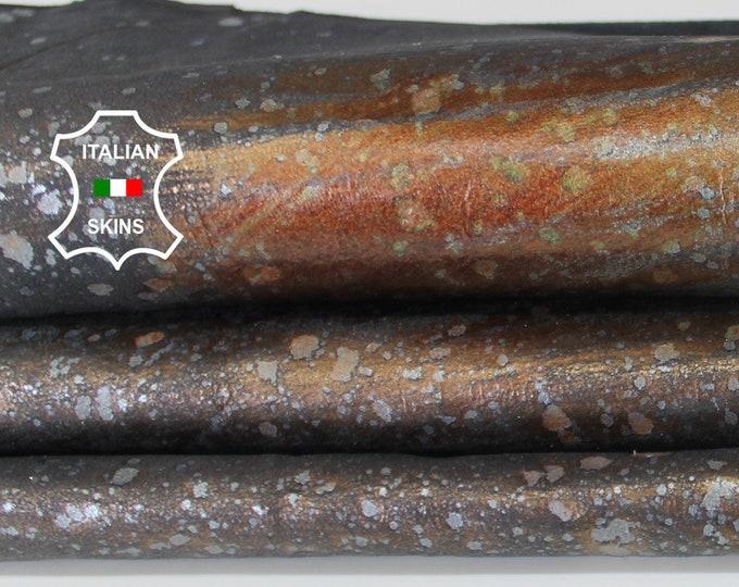 METALLIC COPPER distressed on GREY vintage look Italian Lambskin Lamb Sheep leather skin hide skins hides 5sqf 0.5mm #A6675