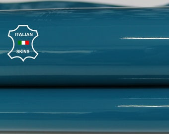 PATENT TEAL BLUE wet shiny look Italian Calfskin Calf Cow genuine leather upholstery skins 6-11sqf 1.0mm #P3