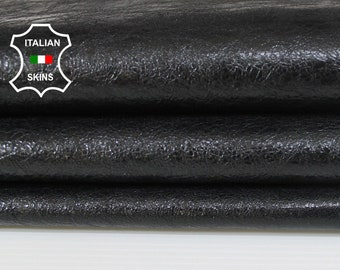 PATENT BLACK CRINKLE crackle crackled shiny Genuine Italian Goatskin Goat leather skin hide skins hides 6sqf 0.7mm #A6112
