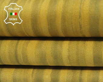 MUSTARD YELLOW DISTRESSED Suede double sided Italian Lambskin Lamb Sheep Leather 2 skins hides total 11sqf 0.8mm #A7072