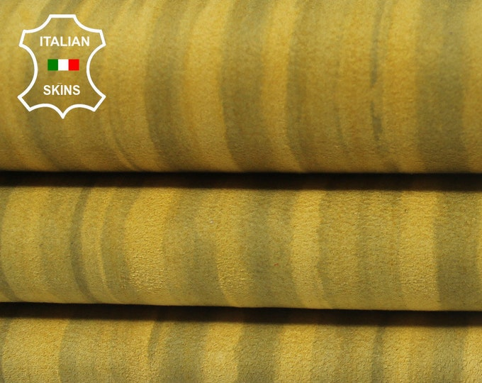 MUSTARD YELLOW DISTRESSED Suede double sided Italian Lambskin Lamb Sheep Leather 4 skins hides total 20sqf 0.7mm #A5694