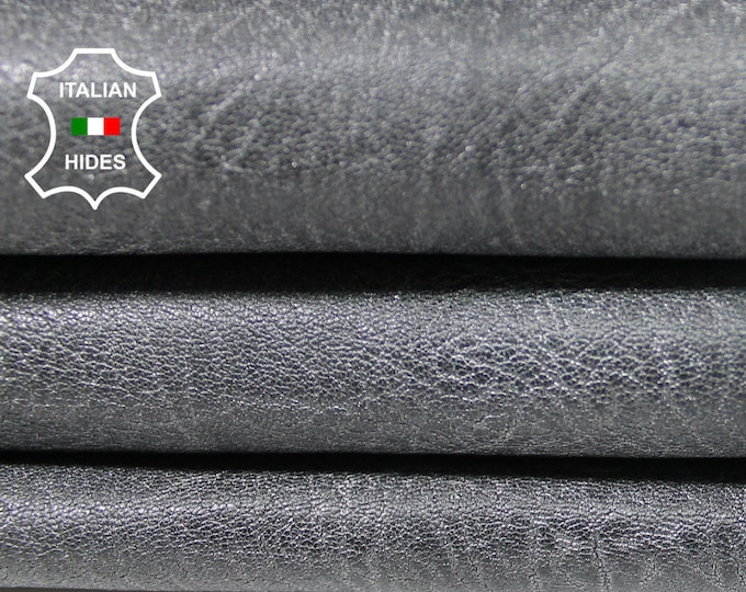GRAINY SILVER GREY Distressed antiqued textured  vintage look Italian Lambskin Lamb Sheep leather skin hide skins hides 5sqf 1.1mm #A5141