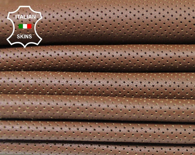 BROWN PINHOLES PERFORATED textured Italian genuine Lambskin Lamb Sheep leather skins hides 0.5mm to 1.2mm