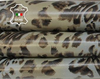 KHAKI LEOPARD blue grey print textured on taupe Italian Lambskin Lamb Sheep leather skin hide skins hides 7sqf 0.7mm #A6855