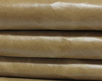 VINTAGE KHAKI BEIGE  Calf Calfskin Italian genuine leather skin skins hide hides 2 tones 15sqf #A2863