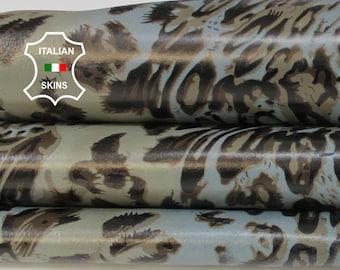 KHAKI LEOPARD blue grey print textured on dark grey Italian Lambskin Lamb Sheep leather skin hide skins hides 7sqf 0.7mm #A6853
