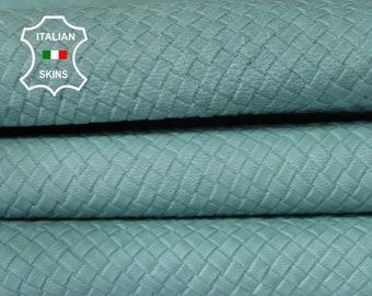 WOVEN AQUAMARINE NAKED light blue natural textured vegetable tan Italian Goatskin Goat Leather skin skins hide hides 5-7sqf 0.9mm #A6640