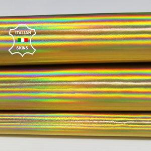 = Approx Surf 27\u2033 W X 36\u2033 L 10 Sq ITALIAN Lambskin Leather Hide Soft Genuine Imprinted Metallic Holographic Snake GoldBlack Ft