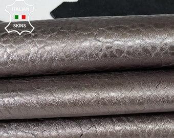 METALLIC PLOMB BUBBLY Italian thick lambskin sheep leather skin skins hide hides 5sqf 1.4mm #A8028