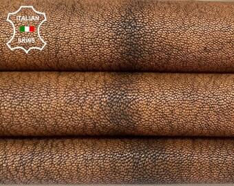 BROWN ROUGH RUSTIC antiqued vegetable tan soft Italian goatskin goat leather skin skins hide hides 5sqf 1.0mm #A8469