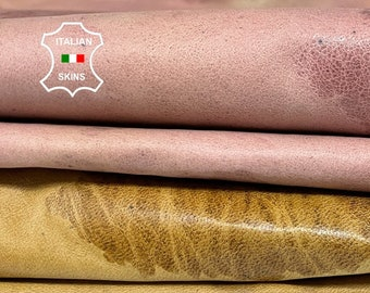 PACK CAMEL & PINK textured distressed vintage look soft Italian lambskin lamb sheep leather pack 2 skins total 16sqf 0.6mm #A8381