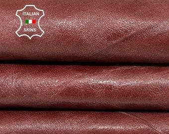 BROWN SHINY vintage look Italian goatskin goat leather skin skins hide hides 5sqf 0.6mm #A8373