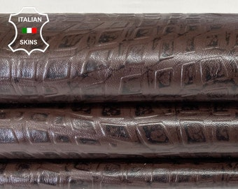 BROWN SQUARES textured embossed antiqued Italian Lambskin Lamb Sheep leather skin hide skins 7sqf 0.7mm #A7801