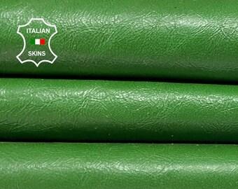 GREEN SHINY CRINKLE Italian goatskin goat leather skin skins hide hides 6sqf 0.8mm #A8370