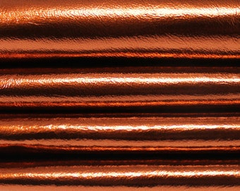 Italian genuine lambskin leather material for sewing 12 skins hides METALLIC RUST COPPER 80-90sqf