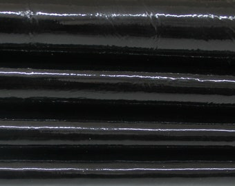 PATENT BLACK CRINKLE shiny Crinkled shiny wet look Italian Lambskin Lamb sheep leather 2skins hides total 20sqf 1.1mm #A5966