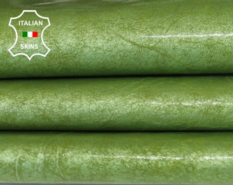 PATENT LIME GREEN vintage look shiny thin Italian Lambskin Lamb Sheep leather skin skins hide hides 6sqf 0.3mm #A6493
