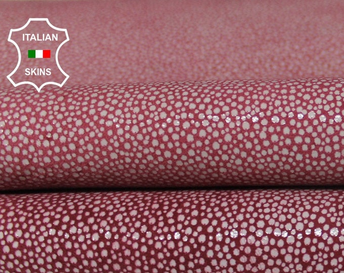 WINE RED white reptile print cracked textured vintage look Italian Lambskin Lamb Sheep leather 2 skins hides total 10sqf 1.0mm #A6483