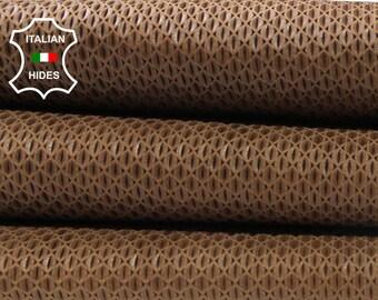 NATURAL BROWN TEXTURED natural look vegetable tan Italian Lambskin Lamb Sheep leather skin hide skins hides 6sqf 0.9mm #A4469
