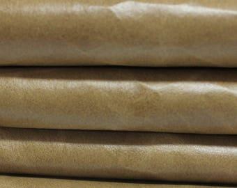 VINTAGE KHAKI BEIGE  Calf Calfskin Italian genuine leather skin skins hide hides 2 tones 16sqf #A2864