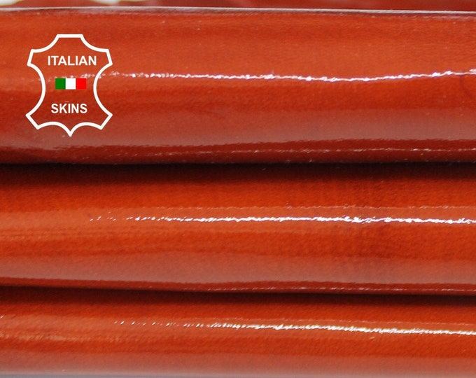 BRIC COGNAC PATENT shiny strong Italian Goatskin Goat leather 2 skins total 6+sqf 0.9mm #A6634