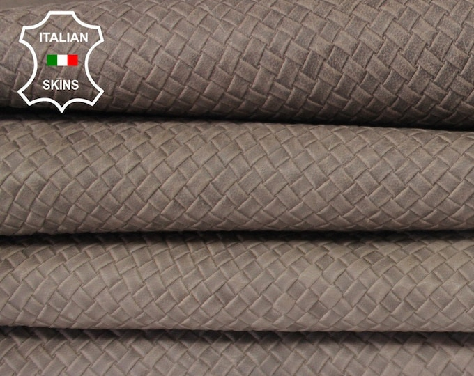 WOVEN TAUPE BROWN Naked Natural textured embossed vegetable tan Italian Goatskin Goat Leather 2 skins total 12sqf 0.7mm #A6648
