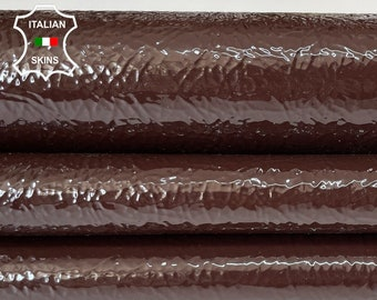 CHESTNUT BROWN PATENT crinkle  shiny wet look Italian calfskin calf cow leather hide hides skin pack 2 skins total 7sqf 1.3mm #A8241