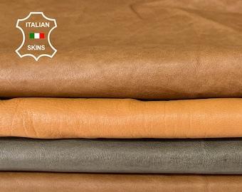 4 SHADES BROWN VEGETABLE tan Italian lambskin sheep leather skin skins hide hides total 4 skins 12sqf 0.9mm #A8096